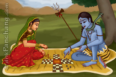 Lord Shiva gambling with Goddess Parvati