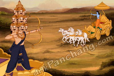 Lord Rama killing demon king Ravana