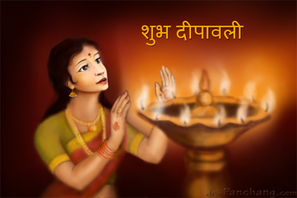 Lady with Diwali Lamp