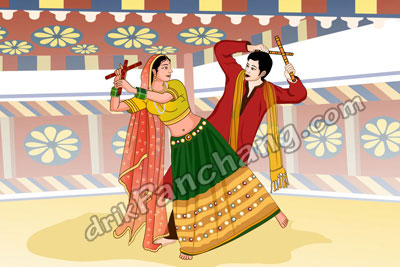 couple performing Dandiya<br />during Navratri celebrations