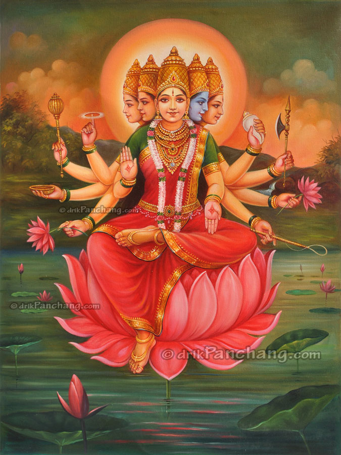 Goddess gayatri oil painting online purchase buy goddess for Selling oil paintings online