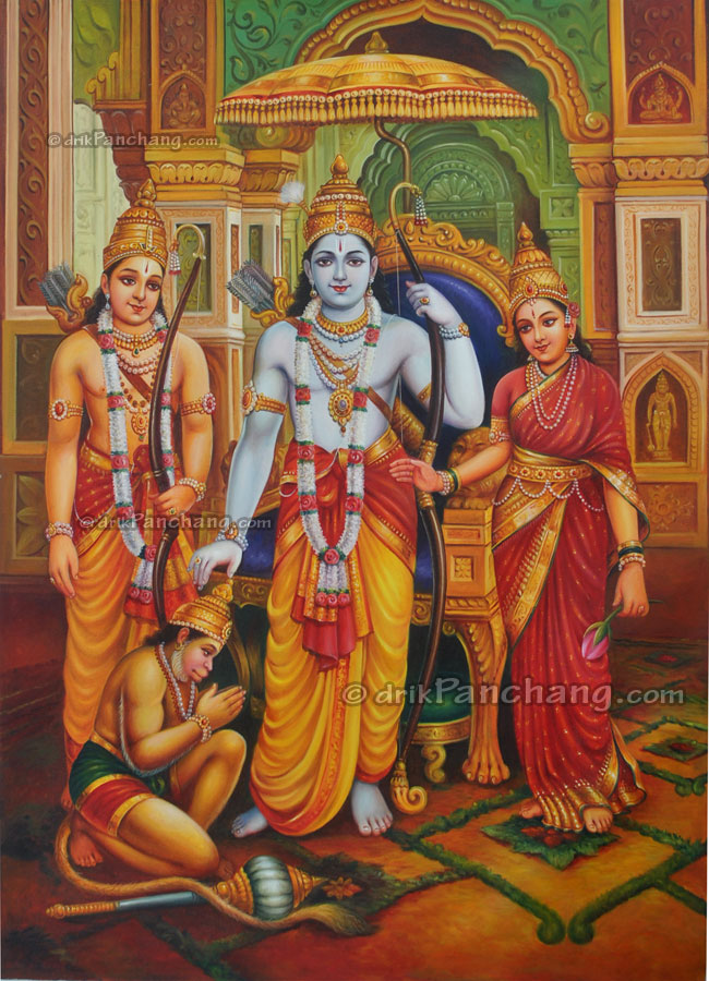 Rama darbar oil painting online purchase buy rama darbar for Buy mural paintings